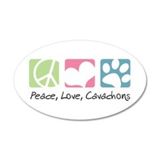 Peace, Love, Cavachons 22x14 Oval Wall Peel
