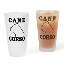 Cane Corso Logo Black Drinking Glass