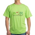 Peace, Love, Lhasapoos Green T-Shirt
