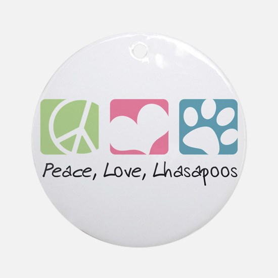 Peace, Love, Lhasapoos Ornament (Round)