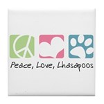 Peace, Love, Lhasapoos Tile Coaster