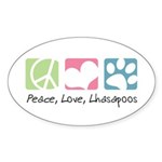 Peace, Love, Lhasapoos Sticker (Oval 50 pk)