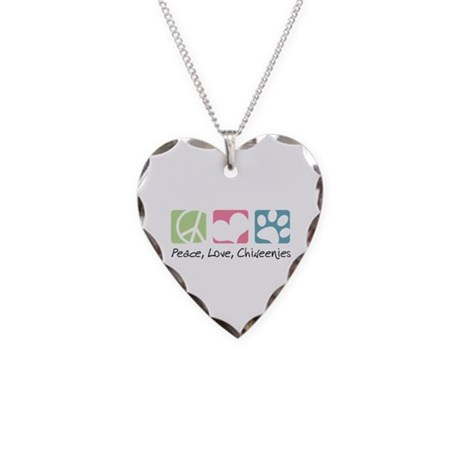 Peace, Love, Chiweenies Necklace Heart Charm