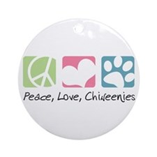 Peace, Love, Chiweenies Ornament (Round)
