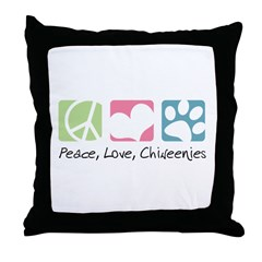 Peace, Love, Chiweenies Throw Pillow