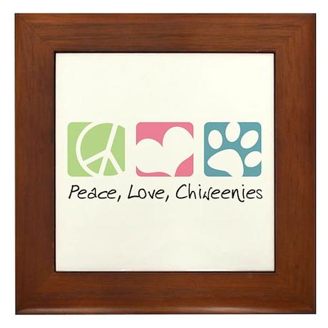 Peace, Love, Chiweenies Framed Tile