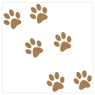 Brown Walk-On-Me Pawprints Poster
