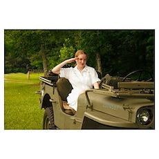 Army Nurse Jill salutes Poster