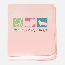 Peace, Love, Corgis baby blanket