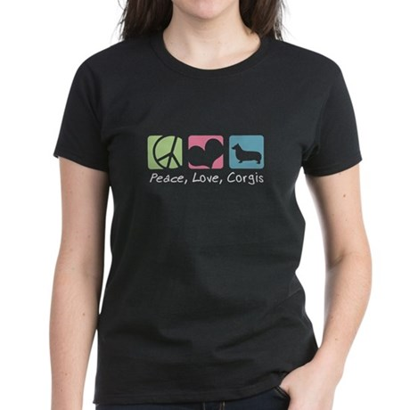 Peace, Love, Corgis Women's Dark T-Shirt