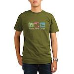 Peace, Love, Corgis Organic Men's T-Shirt (dark)