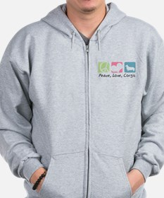 Peace, Love, Corgis Zipped Hoody