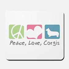 Peace, Love, Corgis Mousepad