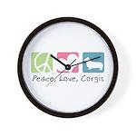 Peace, Love, Corgis Wall Clock