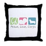 Peace, Love, Corgis Throw Pillow