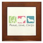 Peace, Love, Corgis Framed Tile