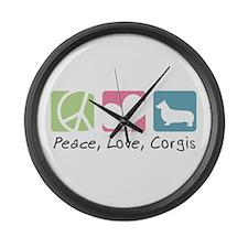 Peace, Love, Corgis Large Wall Clock