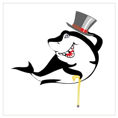 Top-Hat Shark Canvas Art