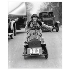 Flapper Driving Pedal Car, 1924 Wall Decal