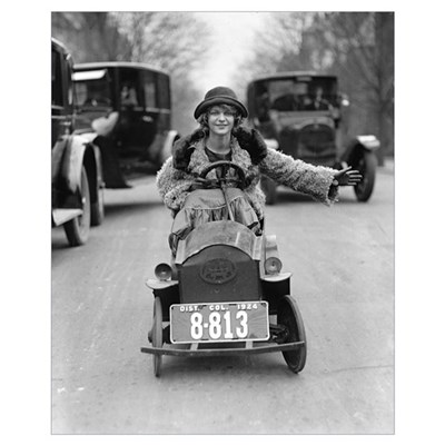 Flapper Driving Pedal Car, 1924 Canvas Art