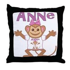 Little Monkey Anne Throw Pillow