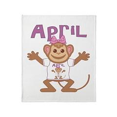 Little Monkey April Throw Blanket