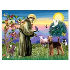 Saint Francis & Airedale Poster