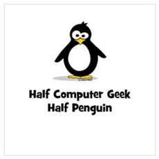 Half Computer Geek Half Pengu Canvas Art