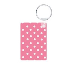 Pink with White Dots Aluminum Photo Keychain