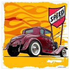 Speed Little Red Coupe Poster