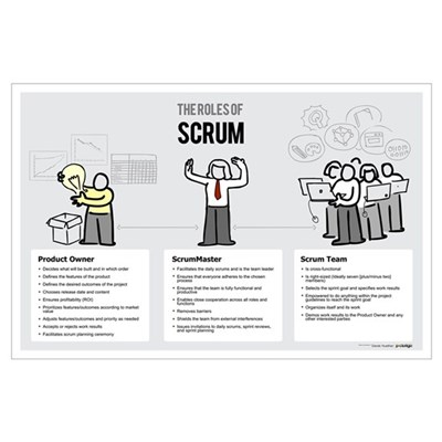 Roles of Scrum (Female ScrumMaster) Poster