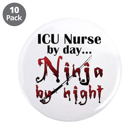 """ICU Nurse Ninja 3.5"""" Button (10 pack)"""