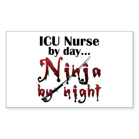 ICU Nurse Ninja Sticker (Rectangle)
