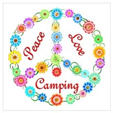 Camping Peace Sign Poster