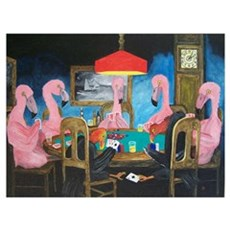 Flamingos Playing Poker Canvas Art