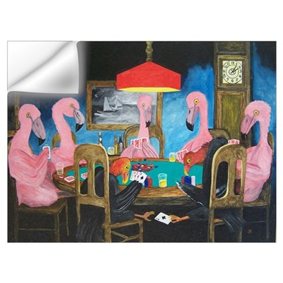 Flamingos Playing Poker Wall Decal