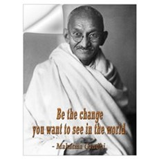 BE THE CHANGE GANDHI QUOTE Wall Decal