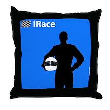 iRace Blue Race Driver Throw Pillow