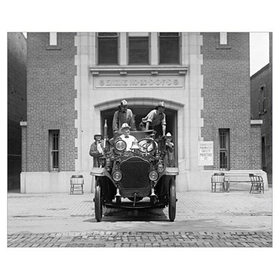 Fire Engine Crew At Firehouse, 1925 Framed Print