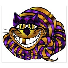 Golden Cheshire Cat Framed Print