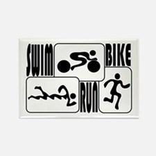 TRI Triathlon BLACK Square Rectangle Magnet