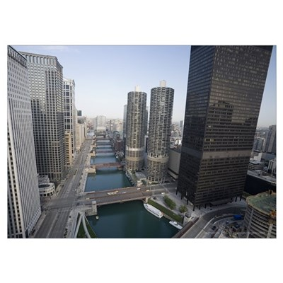 Aerial View of Chicago River Poster