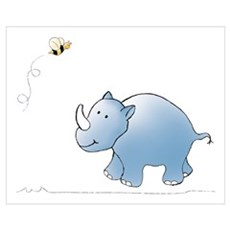 Rhino and Bee Poster