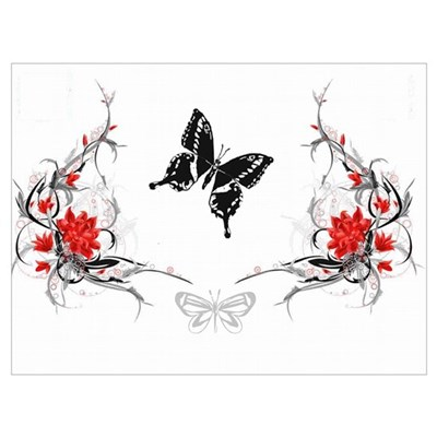 Butterfly/flowers Poster