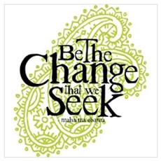 Obama - Change We Seek - Green Framed Print