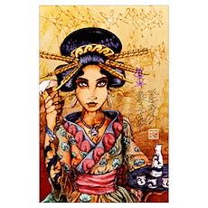 Geisha w/ Beer and Sake Poster