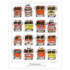 16 Firetrucks Poster