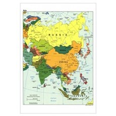 Asia Map Canvas Art