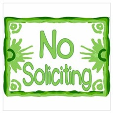 Green No Soliciting Framed Print