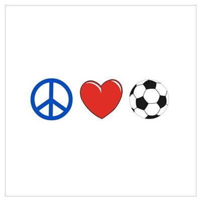 peace, love, soccer Framed Print